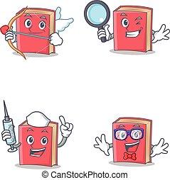 detetive, jogo, personagem, cupid, geek, livro, enfermeira, vermelho