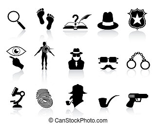 detetive, jogo, pretas, ícones