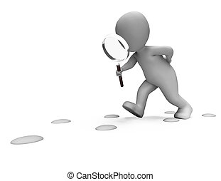 detetive, mostrando, pegadas, personagem, procurar,...