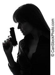 detetive, mulher, silueta, arma, segurando, excitado
