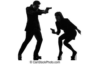 detetive, mulher, silueta, par, agente, segredo, criminal, homem