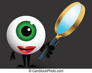 detetive, olho vidro, magnificar