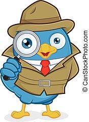 detetive, pássaro azul
