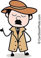 detetive, polícia, -, agente, vetorial, ilustração, ...