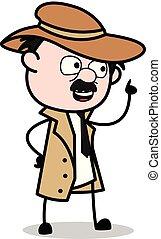 detetive, polícia, apontar, -, agente, retro, vetorial, ilustração, caricatura, dedo
