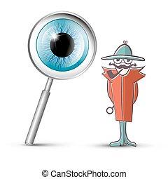 detetive, vidro, símbolo, olho, magnificar