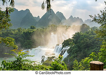 detian, cachoeiras, em, província guangxi, china