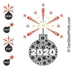 detonador, 2020, covid-2019, fuegos artificiales, artículos, icono, mosaico