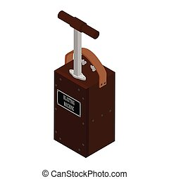 detonador, máquina, explosivo, precaución, voladura, aislado, blanco, box., fondo.