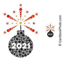 detonador, puntos, redondo, 2021, composición, fuegos artificiales