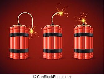 Detonate Dynamite Bomb Set Detonate Dynamite Bomb. Vector illustration