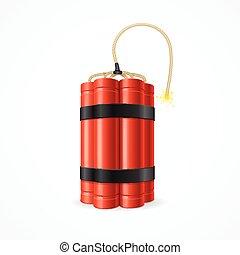 Detonate Dynamite Bomb. Symbol of Terror and Danger. Vector illustration