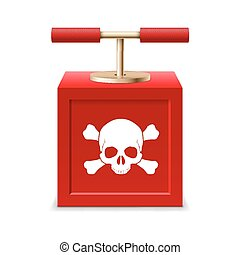 Detonating fuse - Red detonating fuse with a skull and...