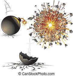 Detonation - Illustration of bomb at different stages -...