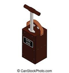 Detonator box. Blasting Machine isolated on white background. Caution explosive
