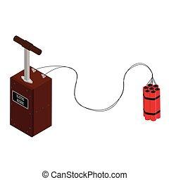 Detonator box with dynamite sticks. Blasting Machine isolated on white background. Caution explosive.