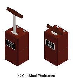 Detonator boxes. Blasting Machine isolated on white background. Caution explosive