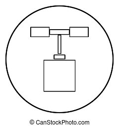Detonator icon black color in circle round