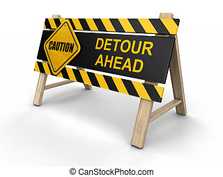 Detore ahead sign. Image with clipping path