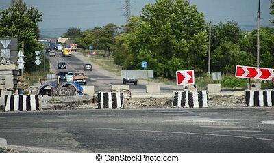 Detour, repair of road
