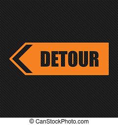 Detour sign on striped background