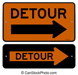 Detour Sign - Orange Traffic Road Sign with Right Arrow