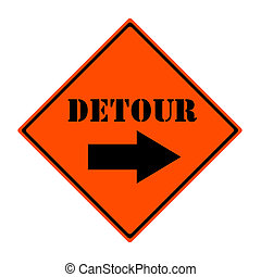 Detour This Way Sign - An orange and black diamond shaped...