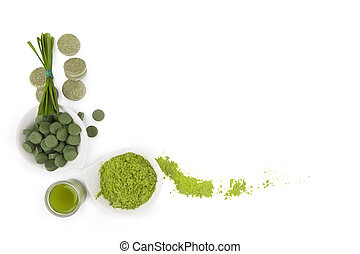 Detox background with copy space. - Greed superfood. ...