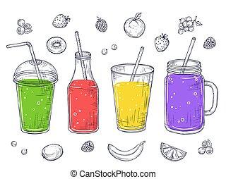 detox, bevanda, succo fresco, dieta, drinks., frutta, conquassare, lemonade., vettore, scarabocchiare, isolato, sano, cocktail, set, schizzo, smoothies., verde