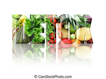Block text made from fruits and vegetables