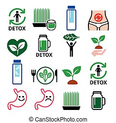 Detox, body cleaning with juices, vegetables or diet vector icons set