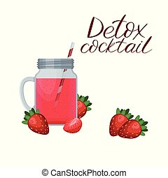 Detox cleanse drink concept, red vegetable smoothie. Smoothie strawberry, cocktail berry.