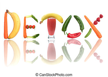 Detox concept - Detox text letters including fruit,...