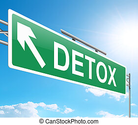 Illustration depicting a sign with a detox concept.