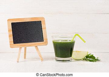 detox, concept., pot verre, de, frais, boisson, vert, smoothie, épinards, feuilles, concombre, pomme, chaux, fruit.