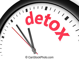 Time for detox diet healthy lifestyle and body care conceptual image with a wall clock and detox text sign printed in red.