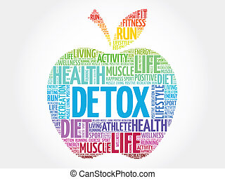 DETOX - Colorful DETOX apple word cloud concept