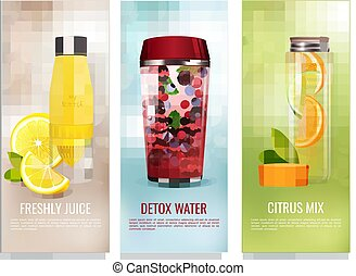 Detox Drinks Banners Set