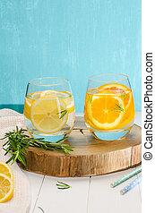 Detox fruit infused flavored water. Refreshing summer...