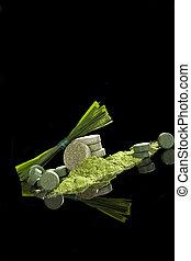 Detox. - Green dietary supplements. Pills, ground powder, ...