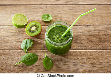 Detox green juice cleansing recipe with also kiwi lemon ...
