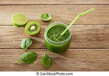 Detox green juice cleansing recipe with also kiwi lemon...