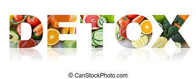 detox, healthy eating and vegetarian diet concept - healthy...
