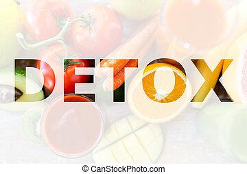 detox, healthy eating and vegetarian diet concept - juice,...