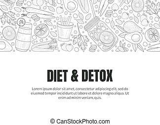 detox, illustration., couverture, diet., vecteur