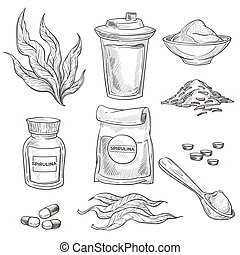 Detox ingredient, spirulina seaweed in pills or powder isolated sketches