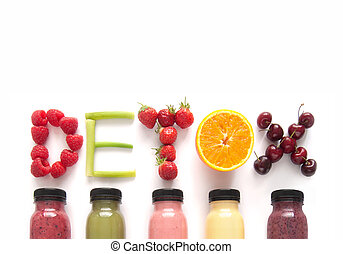 Detox juice smoothies background