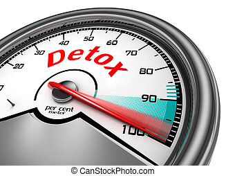 Detox level conceptual meter indicate hundred per cent,...