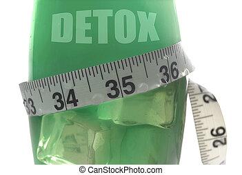 Measuring tape around detox juice