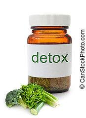detox, pilule, pot, concept
